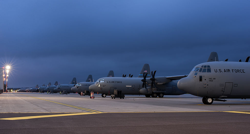 U.S. Air Force aircraft assigned to the Air National Guard and the 37th Airlift Squadron sit on the flight line during Steadfast Javelin II at Ramstein Air Base, Germany, Sept 140902-F-IM476-001