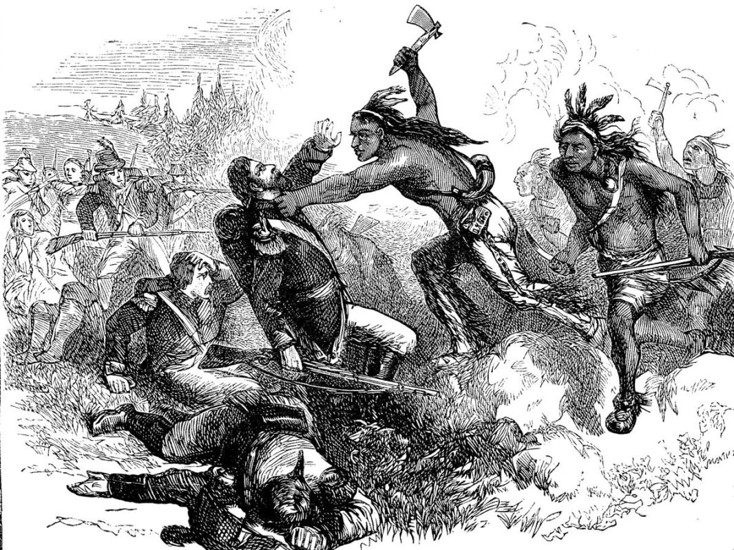 Drawing of one of the charges by Native American warriors during the battle.