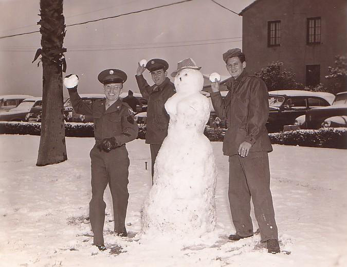 March Field - 1949 Servicemen at March Field playing in the snow after a rare snow storm in 1949.
