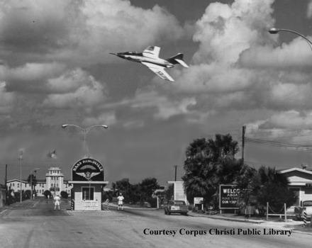 Fighter Jet flying over NAS Kingsville entrance