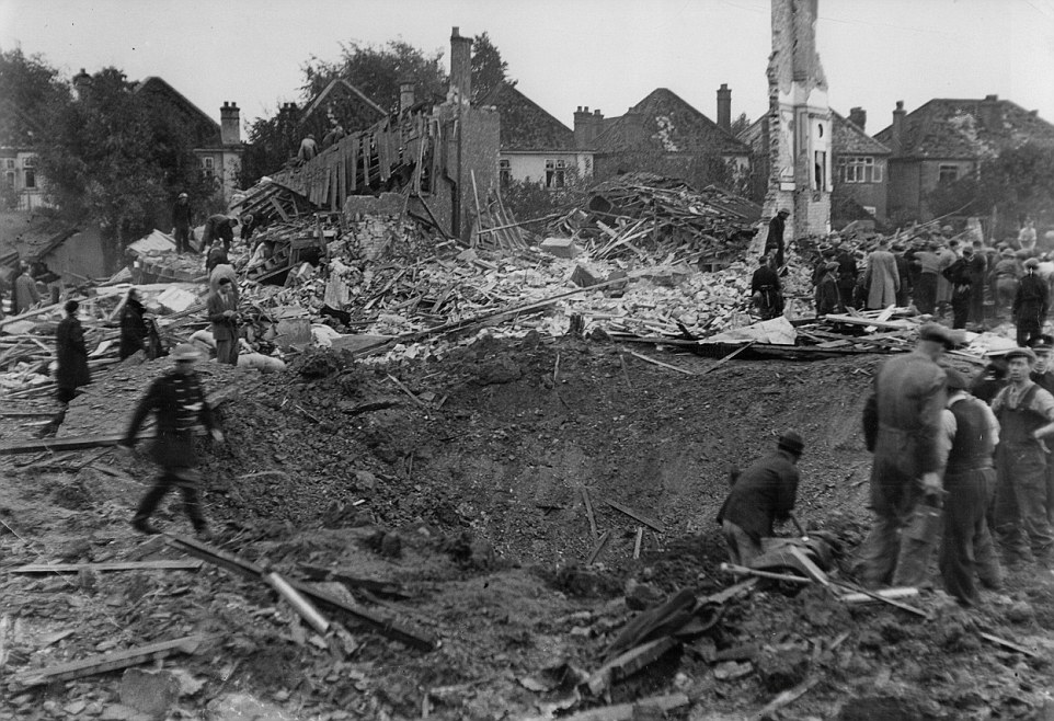 Aftermath of a V-2 strike in London