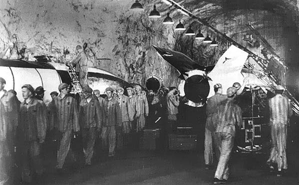 Slave laborers working in an underground V-2 production facility.