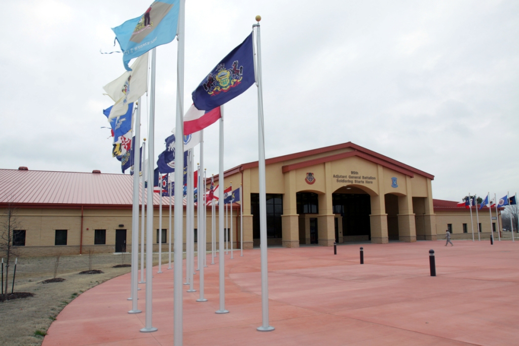 The new 95th Adjutant General Battalion (Reception) complex  in Bldg. 6005, Bessinger Road on Fort Sill. About 20,000 recruits are in-processed annually here before they begin Basic Combat Training.