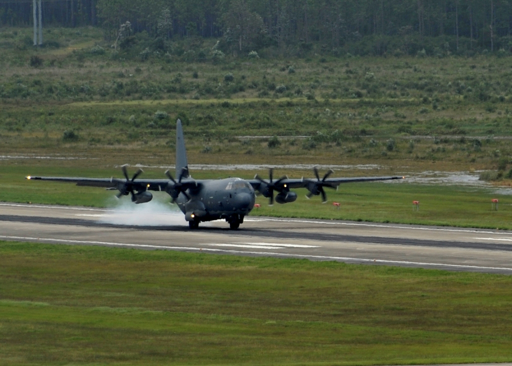 An MC-130J Commando II lands on the flightline at Hurlburt Field, Fla.