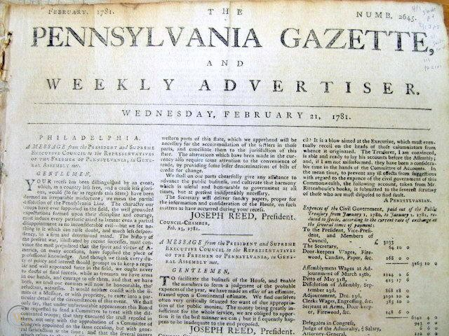 Front page of the Pennsylvania Gazette feature an article by Joseph Reed explaining the mutiny and its outcome.