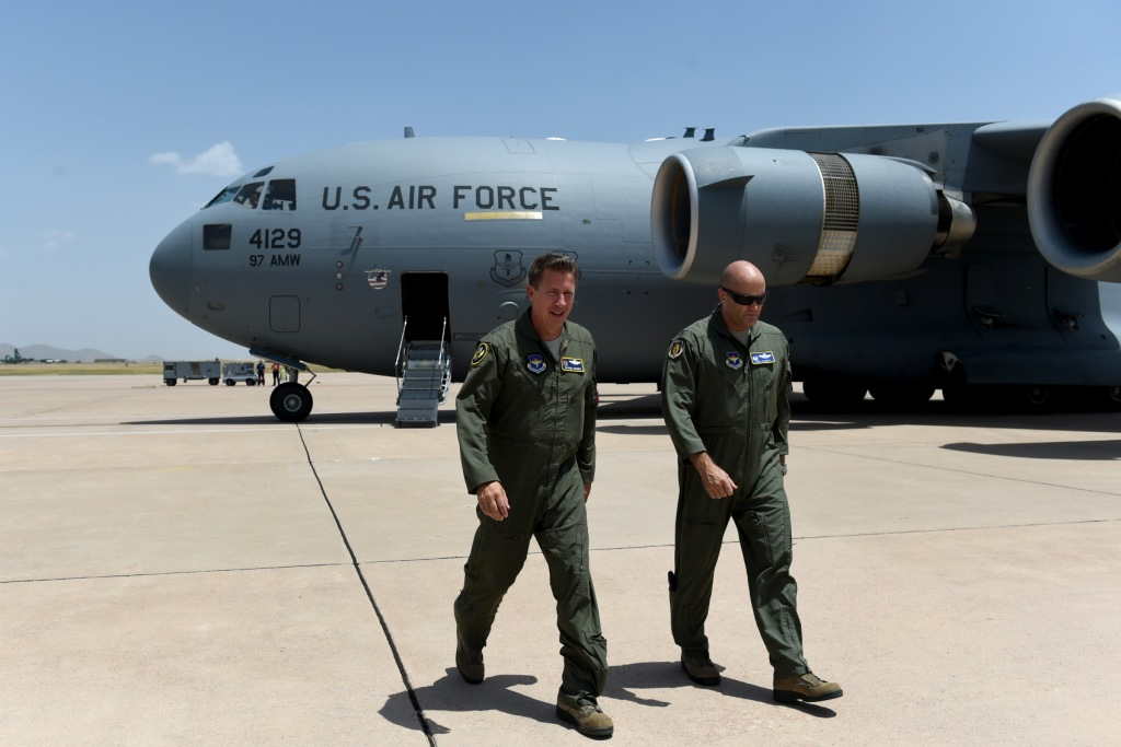 U.S. Air Force Maj. Gen. Patrick Doherty, 19th Air Force commander, leaves the fightline after his flight on a C-17 at Altus Air Force Base, Oklahoma, July 17, 2018. Doherty visited Altus AFB with Chief Master Sgt. David Brown, 19th Air Force command chief, to gain a better understanding of the base mission and observe the preparations being made for the arrival of the KC-46A Pegasus.