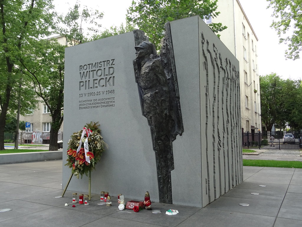 Monument to Colonel Witold Pilecki in Warsaw.