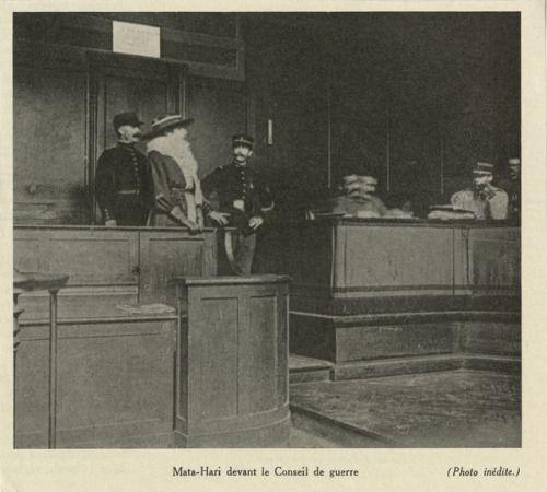 Photo of Mata Hari on trial.