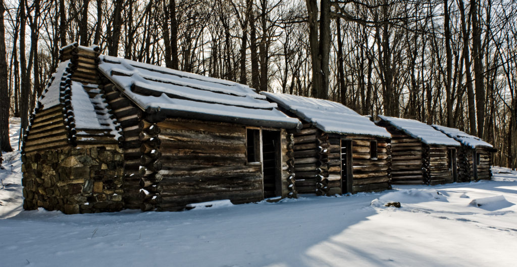 Reconstructed bunkhouses at present day Jockey Hollow.