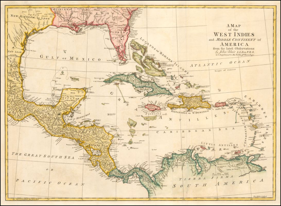 Map of the West Indies, late 18th century.