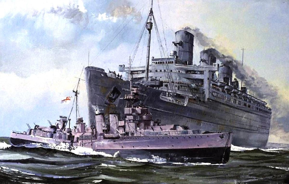 Drawing of the RMS Queen Mary colliding with the HMS Curacoa