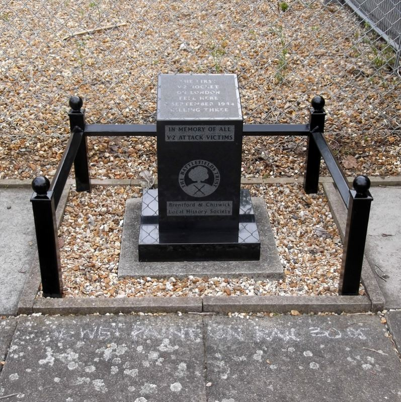 Memorial to the victims at the spot where the first rocket struck London.