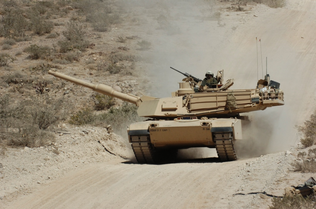 An Abrams tank crew, 2nd Battalion, 7th Cavalry Regiment, makes its way off Fort Bliss' Doña Ana Range after completing their qualification table. The unit is the first to have the Common Remotely Operated Weapons Station mounted on Abrams tanks. Fort Bliss, Texas