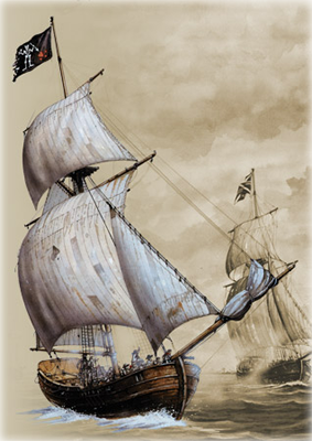 The Adventure engaging Maynard's ships.