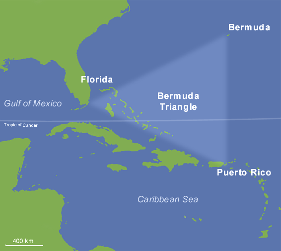 Map of the area commonly associated with the Bermuda Triangle.