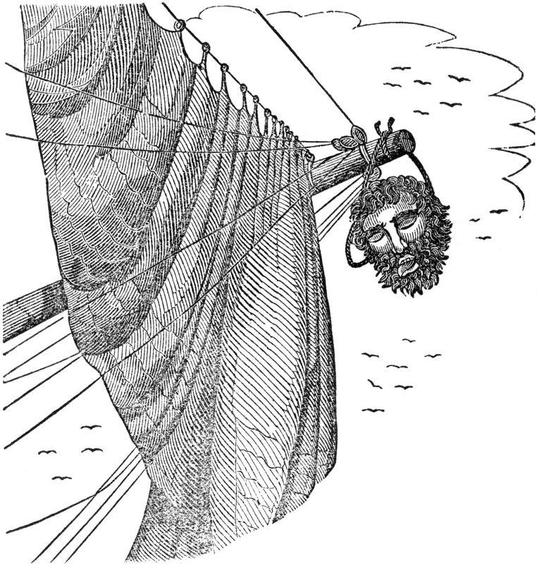 Blackbeard's head hangs from the Jane.