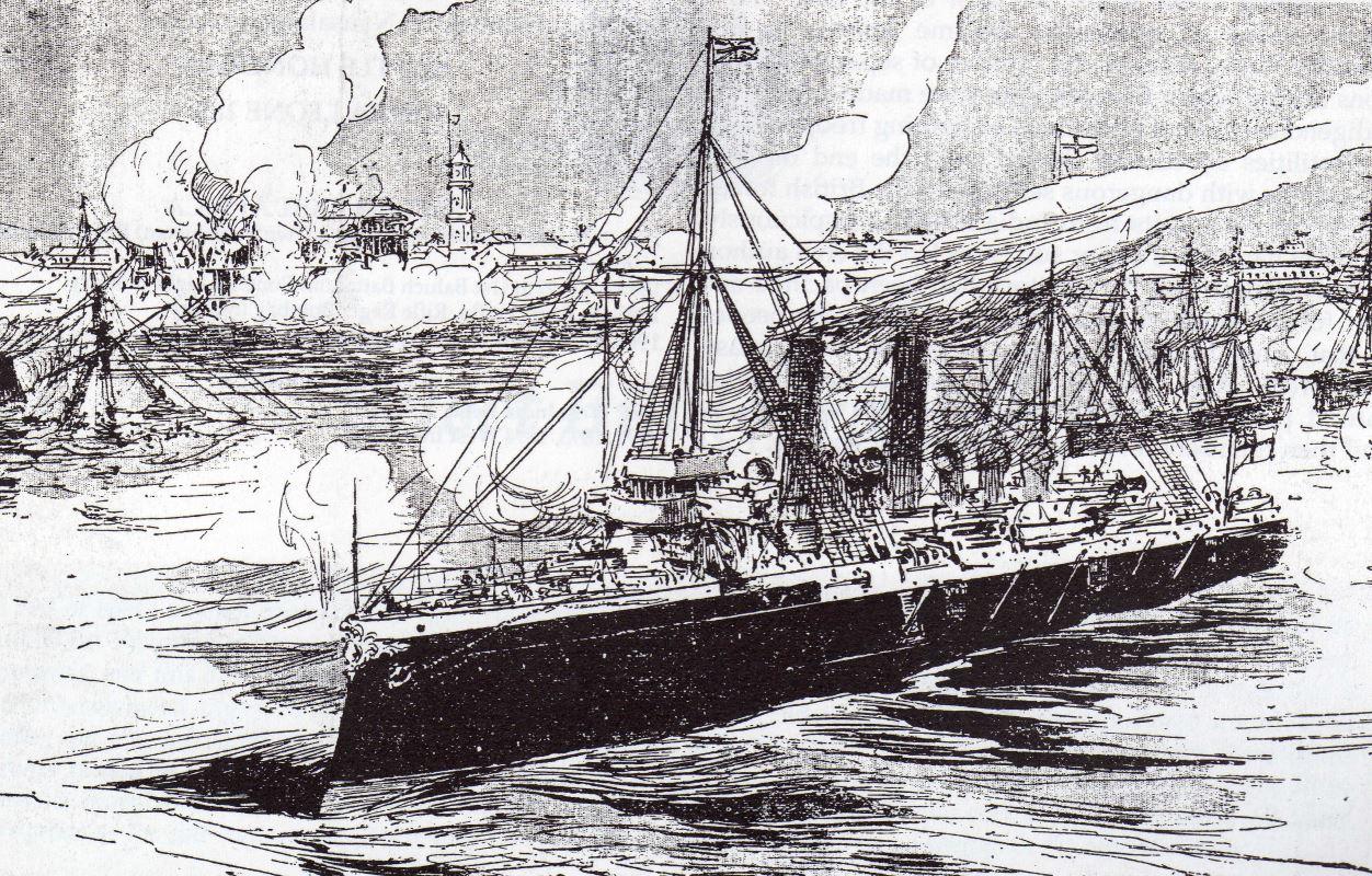 British ships bombard Zanzibar City