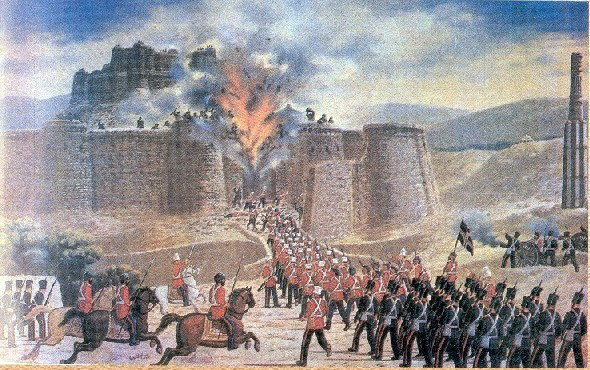 A British-Indian force attacks the Ghazni fort during the First Afghan War, 1839