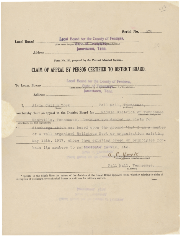 Alvin York's appeal form for conscientious objector status.