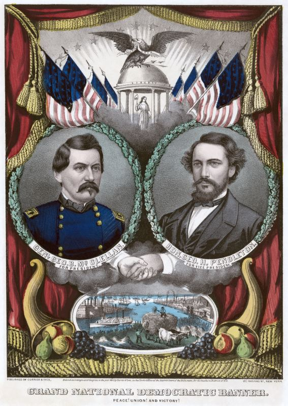 1864 Presidential Campaign poster for General George McClellan and George Pendleton.