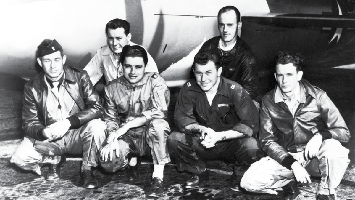 X1 Team: L-R Ed Swindell, Robert Cardenas, Bob Hoover, Chuck Yeager, Dick Frost, Jack Ridley; Edwards AFB History
