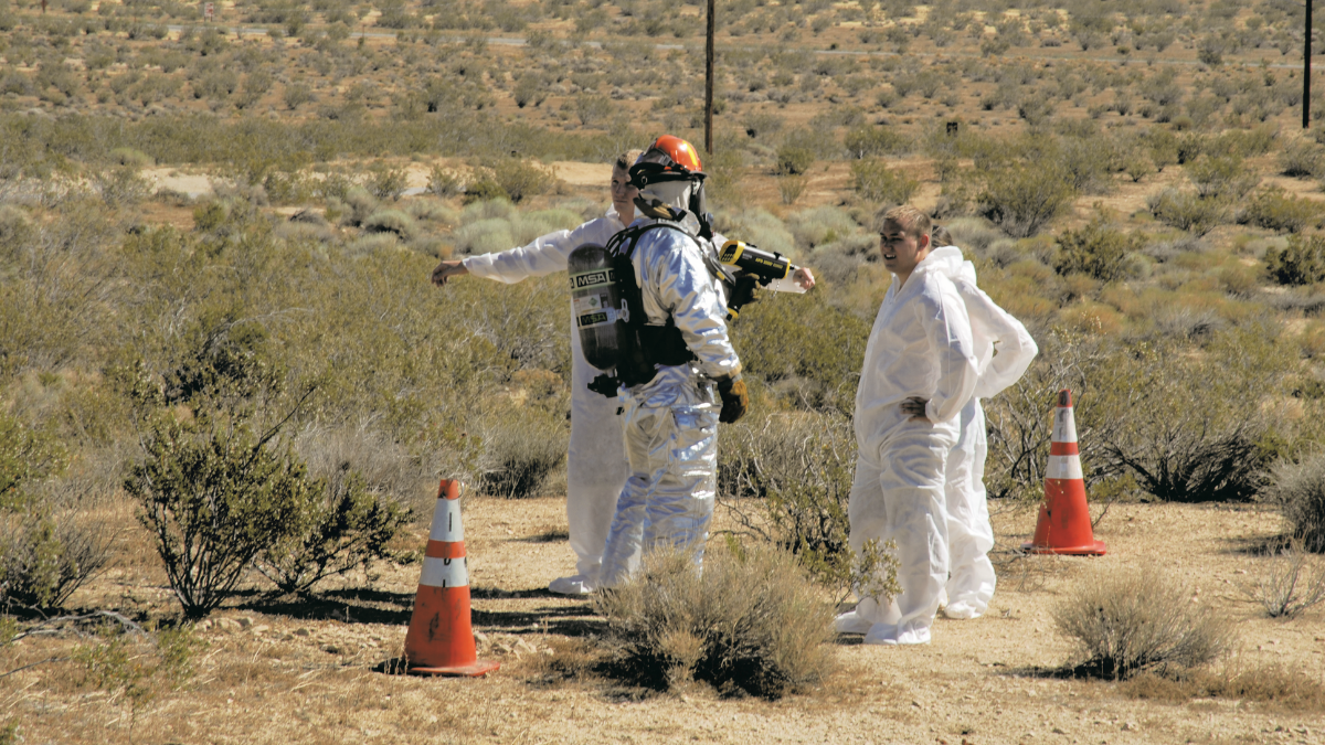 Hazmat suit with Geiger counter, Edwards Air Force Base Natural and Man-Made Disaster Preparedness