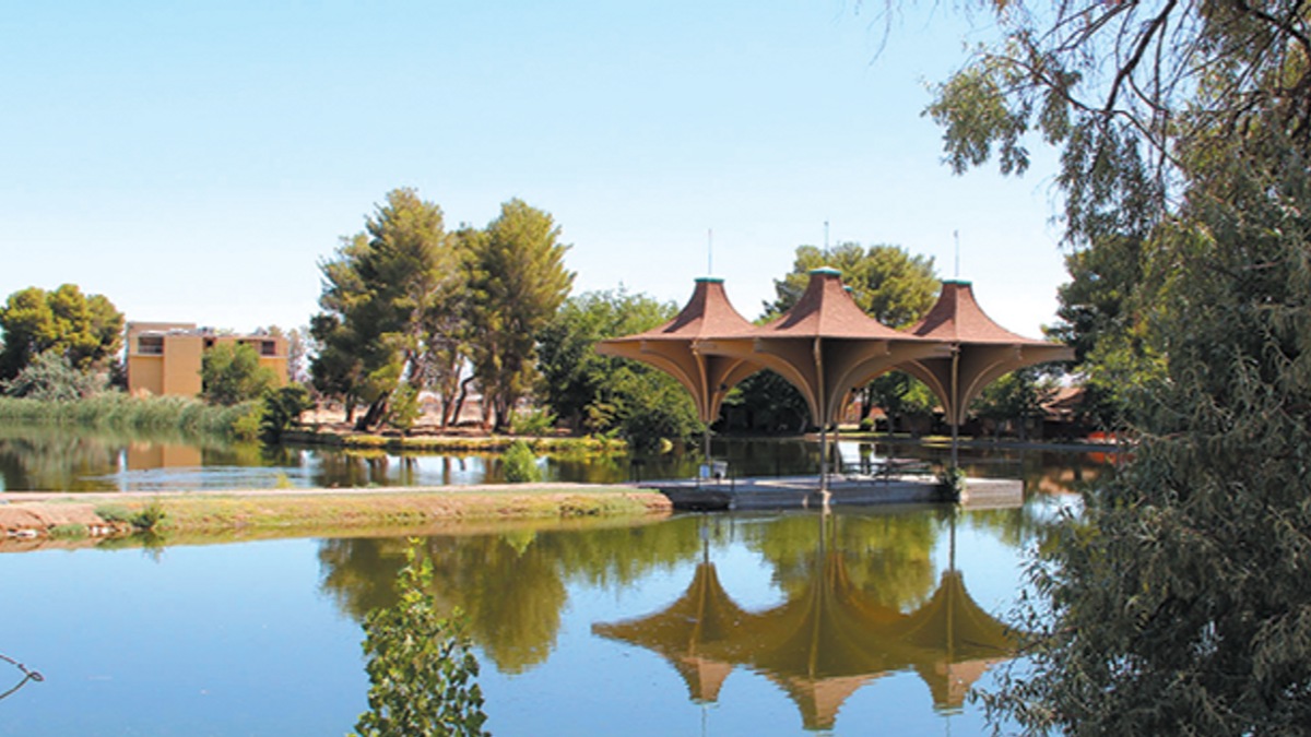 Pond and Building in California City, CA, Edwards Air Force Base Antelope Valley and Local Area