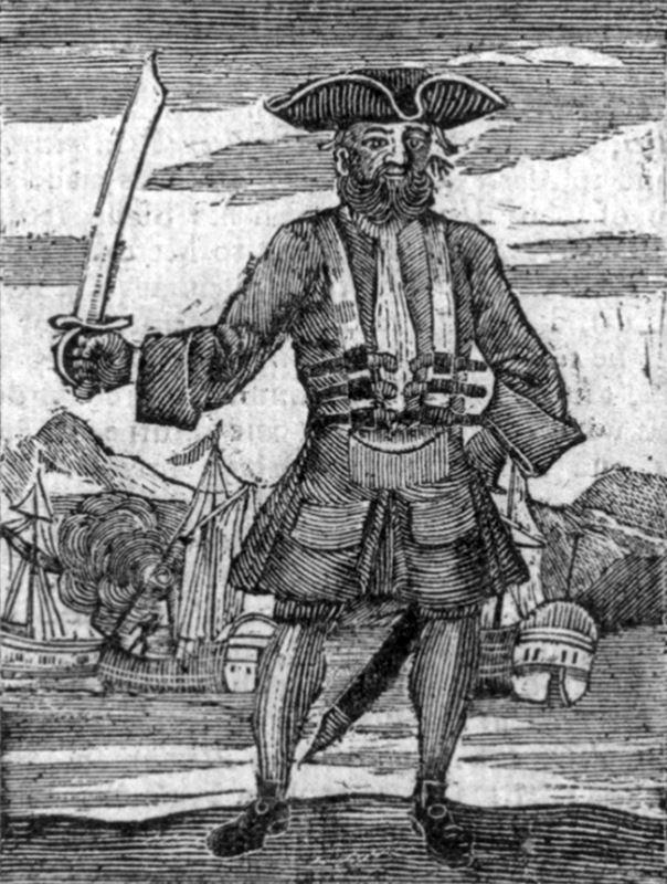 A 1725 illustration of Blackbeard.