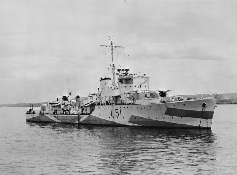 Destroyer HMS Bramham, the ship that picked up the majority of the Curacoa's survivors.