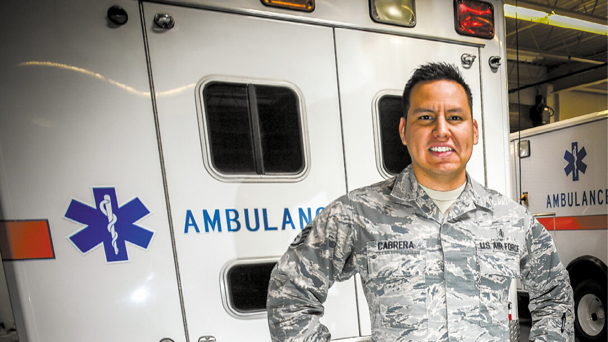 Airmen with ambulance, Hill Air Force Base