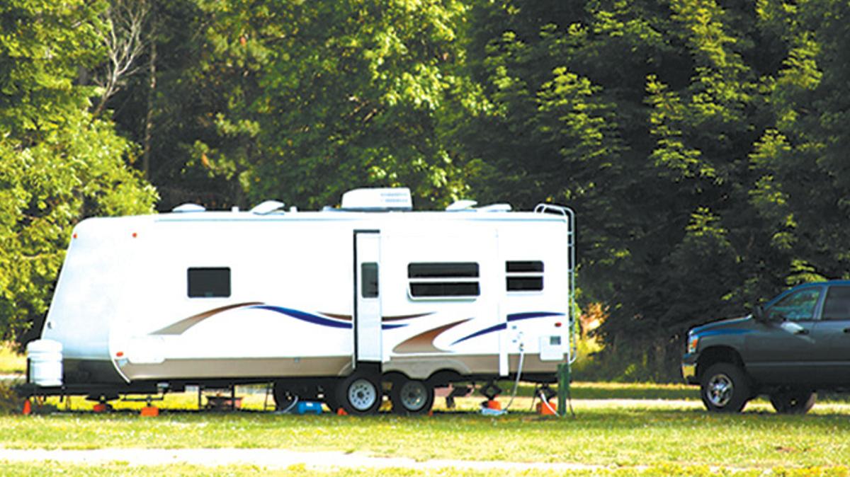 RV at campsite, Joint Base Elmendorf-Richardson, JBER