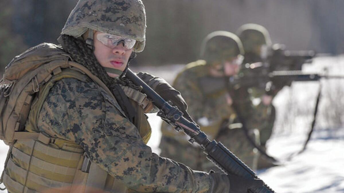 Marines running a drill, Joint Base Elmendorf-Richardson, JBER