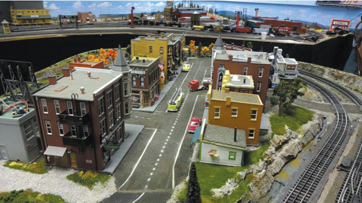 Model train tracks with model city, Joint Base Elmendorf-Richardson, JBER