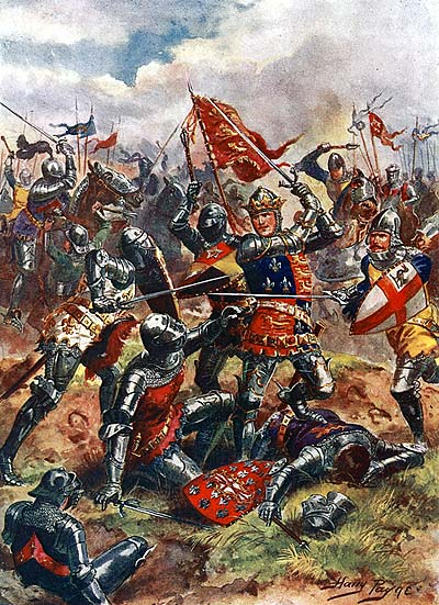 Painting of King Henry during the battle.