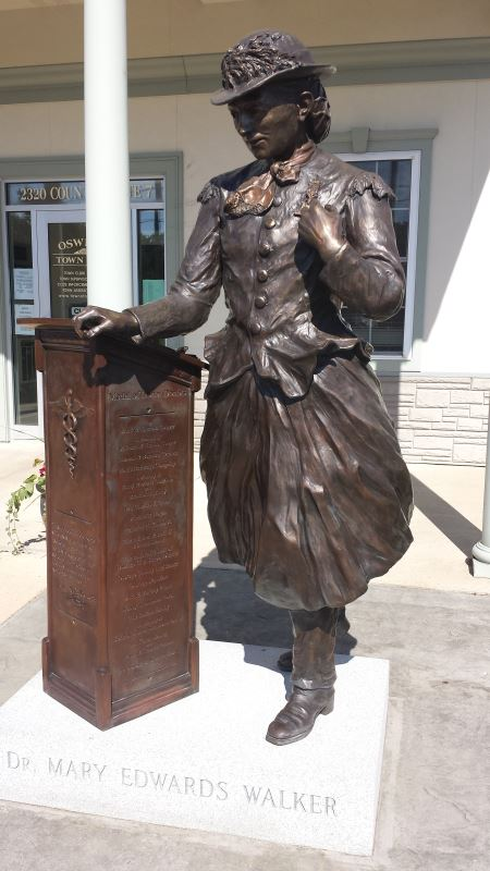 Statue of Mary Edwards Walker in front of the Oswego Town Hall.