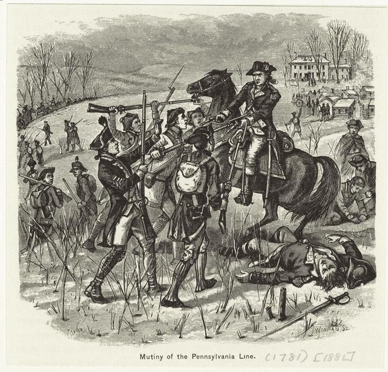 Dramatized drawing of the Pennsylvania Line Mutiny