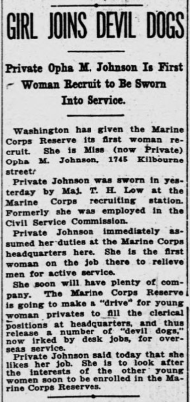 Newspaper article announcing the first women to join the US Marines in 1918