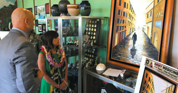 Pacific Health US Army Health Clinic Schofield Barracks Second Lady Sees Art Therapy in Action