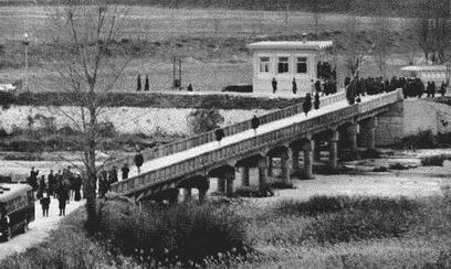 Pueblo's crew being released by the North Koreans across the Bridge of No Return in the Joint Security Area of the DMZ (De-militarized Zone) in Panmunjom, Korea on 23 December 1968.