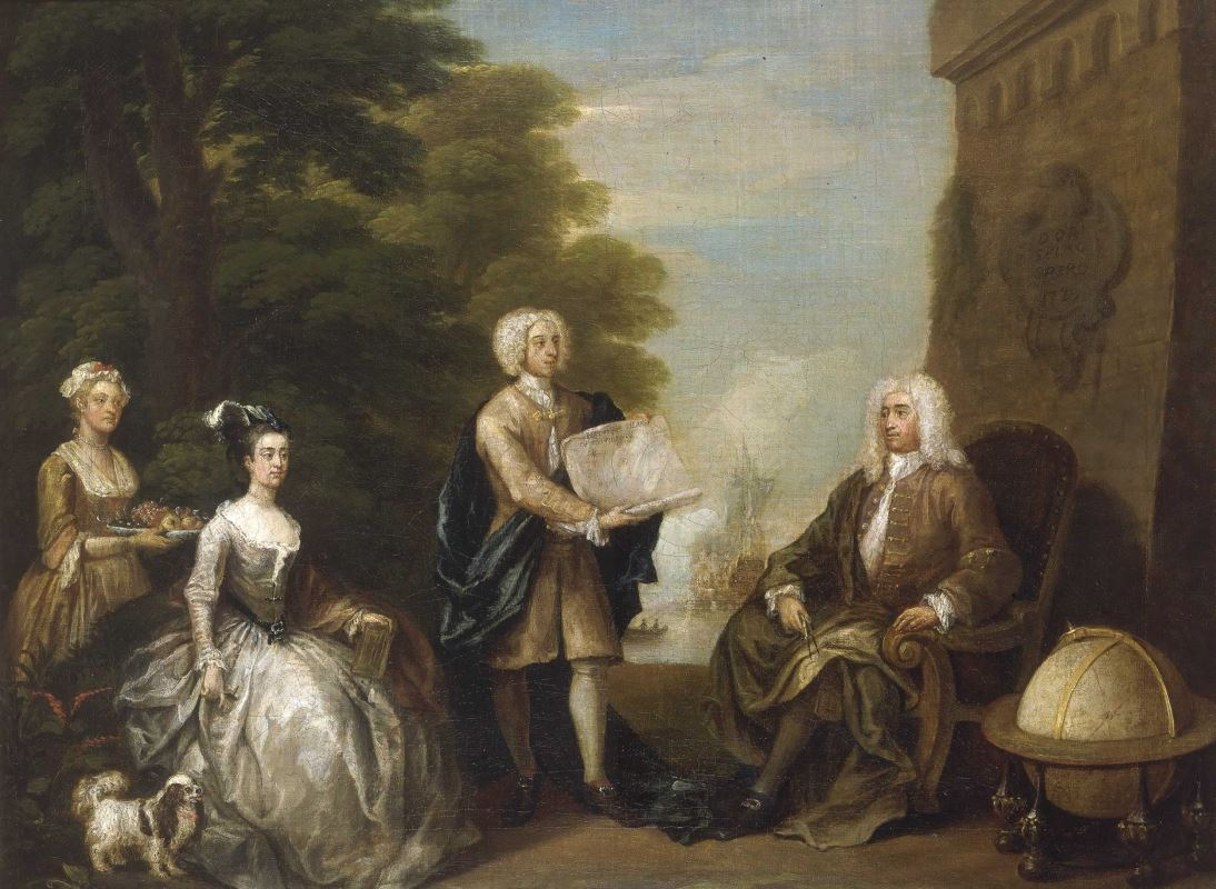 Painting of Woodes Rogers (far right) and his family by William Hogarth, 1729.