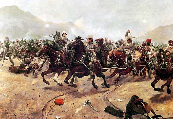 "E Battery Royal Horse Artillery escaping from the overwhelming Afghan attack at the Battle of Maiwand, from ""Maiwand: Saving the Guns"" by Richard Caton Woodville."