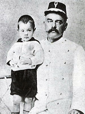 Captain Rudolf MacLeod, husband of Mata Hari, with their son Norman.