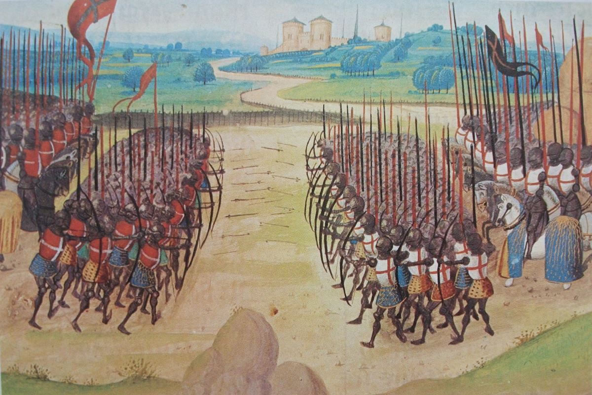 Painting of the Battle of Agincourt from sometime in the early 15th century.