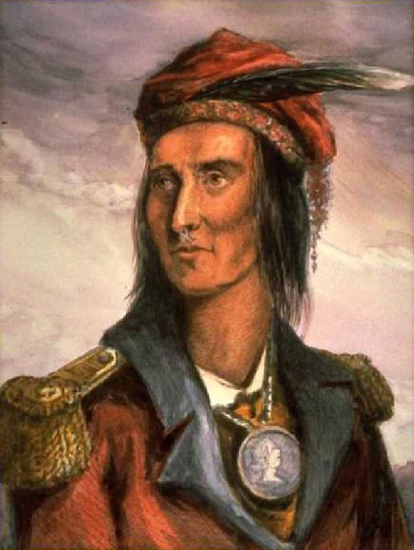 Painting of Tecumseh based on an 1808 engraving of him.