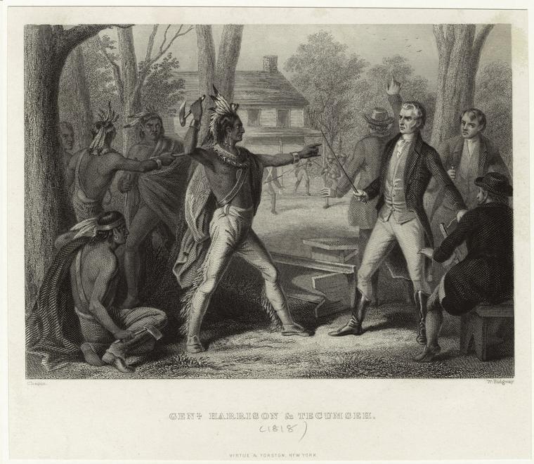 Sketch of the 1810 meeting between Tecumseh and Harrison.