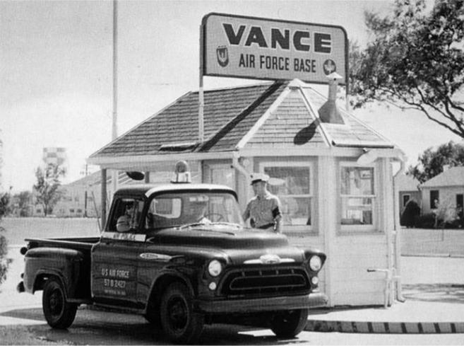 Historical Image of front gate, Vance Air Force Base