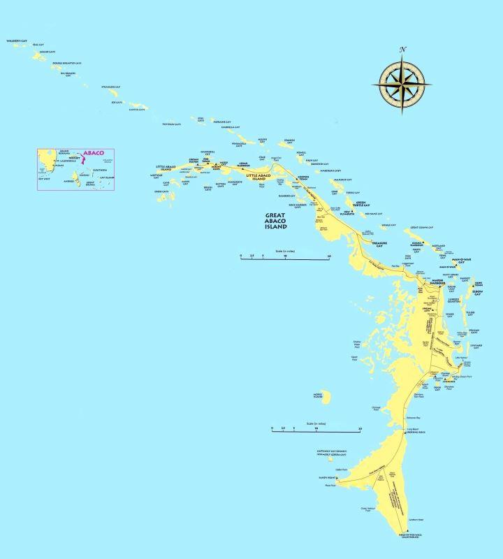 Abaco Island, Bahamas and its smaller surrounding islands.