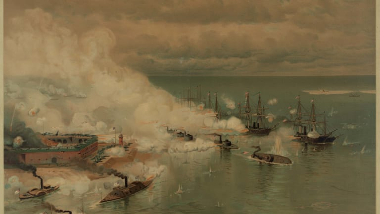 Painting of the Battle of Mobile Bay