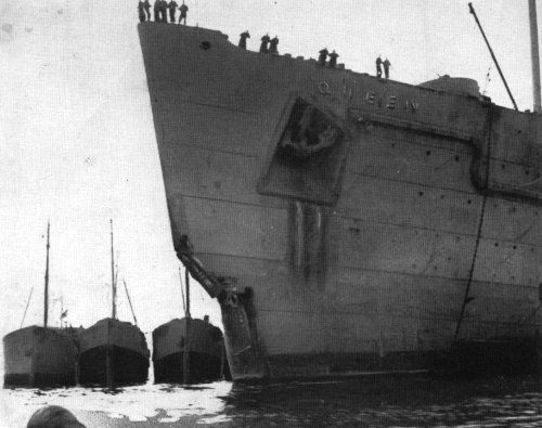 The damaged bow of the RMS Queen Mary after her collision with the HMS Curacoa.