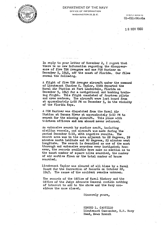 Official Navy letter attributing the loss of Flight 19 to causes unknown.